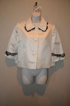 NWT $2350 Sz 10 Bill Blass Ivory Black Lace Silk 3/4 Sleeve Crop Jacket Blazer #BillBlass #Blazer