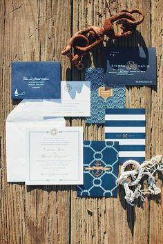 Nautical blue invitation suite: http://www.stylemepretty.com/connecticut-weddings/greenwich/2016/03/18/classic-riverside-yacht-club-wedding-with-nautical-touches/   Photography: First Mate Photo - http://firstmatephoto.com/