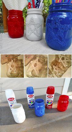 DIY Epsom Salt 4th of July Star Jars #diy #bottle #jars