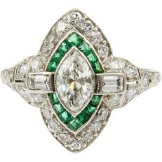1STDIBS.COM Jewelry & Watches - Art Deco Emerald Navette Diamond Target Ring - Past Era Antique Jewelry found on Polyvore