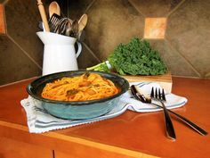 Butternut Squash Linguine with Mushroom and Kale