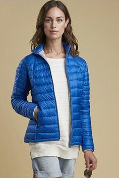 Smyths new Barbour Daisyhill Ladies quilt in Bright Victoria Blue has been designed with a beautiful baffle quilt design, just look at the fitted st Quilt Design, Quilting Designs, Color Lines, Barbour, Winter Jackets, Victoria, Bright, Quilts, Lady