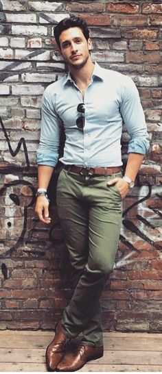 Blue button up shirt with olive pants brown shoes brown belt with sunglasses a nice business casual look for the summer #businesscasual #mensfashion #menswear #menstyle #summerstyle #summeroutfits