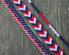 These bracelets are the perfect accessory for your Fourth of July outfit and/or gift for family or friends! Each bracelet ranges from inches long with braids on the ends for adjusting Bracelet Crafts, Bracelet Set, Bracelet Making, Peyote Bracelet, Crochet Bracelet, Thread Bracelets, String Bracelets, Diy Embroidery Bracelets, Loom Bracelets