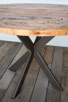 Round Top Rustic Modern Kitchen Table, Pedestal Table in reclaimed wood and steel legs in your choice of color, size and finish