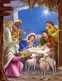 Caroline's Treasures The Wise Men at The Nativity Christmas Flag Canvas House Size, Large, Multicolor Christmas Artwork, Christmas Nativity Scene, Christmas Canvas, Christmas Paintings, Christmas Scenes, Christmas Pictures, The Nativity, Nativity Scenes, Christmas Time