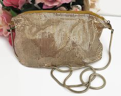 Vintage Glomesh gold mesh across body bag, unstructured slouchy bag with top zip, long gold chain, apricot satin lining, by CardCurios on Etsy Across Body Bag, Dark Mark, Gold Chains, Drawstring Backpack, 1970s, Mesh, Satin, Shoulder Bag, Handbags