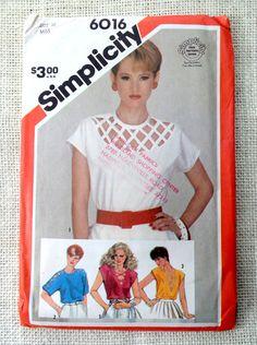 Simplicity 6016 1980s top Blouse Vintage by momandpopcultureshop