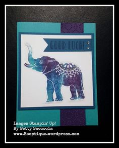 Baby wipes meet Lucky Elephant!  EASY card made with Stampin' Up! Supplies.  See the details on my blog, Booptique.wordpress.com 2/2