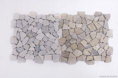 TAN GREY INTERLOCK szara ŁAMANA mozaika kamienna na siatce INDUSTONE