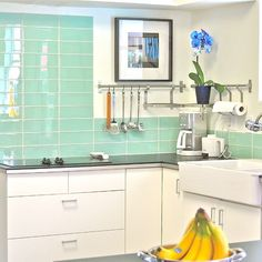4x12 Surf glass subway tile kitchen backsplash