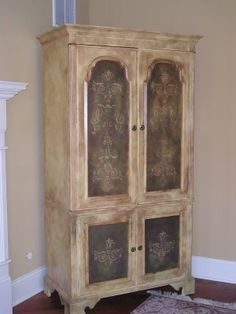 I want to repurpose a piece like this and make it into a food pantry and paint the decorative panels  with chalkboard paint.