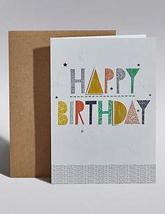 Text & Stars Birthday Card