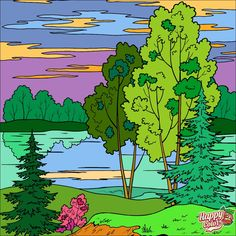 Color By Numbers, Paint By Number, Landscape Quilts, Happy Colors, 2 Colours, Pixel Art, Painting & Drawing, Coloring Pages, Drawings