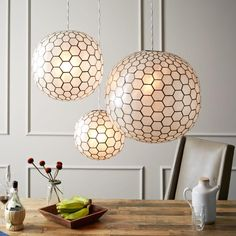 Capiz Orb Pendants from West Elm. Saved to Light Me Up. Shop more products from West Elm on Wanelo. Pendant Light Fixtures, Pendant Lighting, Pendant Lamps, Globe Pendant, Ceiling Pendant, Light Fittings, West Elm, Room Lights, Ceiling Lights