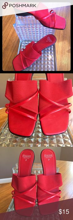 """Red strappy fabric Sandals Italian Shoemakers sz 7 👠 Beautiful EUC sandal with red elastic fabric & """"leather"""" straps - unsure if the straps are real or faux leather - no info in the shoe 👠 1 1/2"""" wedge heel, black plastic sole 👠 Excellent pre-loved condition, minimal wear  👠 Small scratch mark on right foot bed - pic 4 👠 Minimal scratch on right heel - pic 6 (pic 5 """"marks"""" are reflections) 🔵 Plz ask if questions.  TY for looking! 🔵 💚😽  tari Shoes Sandals"""