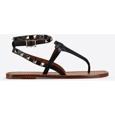 Valentino Garavani Rockstud Double Thong Sandal ($815) ❤ liked on Polyvore featuring shoes, sandals, black, flat thong sandals, studded thong sandals, flats sandals, valentino sandals and ankle strap sandals