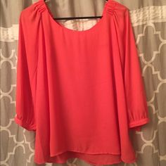 Coral/pink Blouse Flowy, coral blouse with gold button detail Forever 21 Tops Blouses