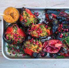 Buckwheat, Ricotta, Herb and Pomegranate Stuffed Charred Peppers with Tahini Dressing