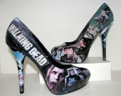 The Walking Dead Zombie High Heels - Made to Order. $70.00, via Etsy. They also do Star Wars, Wonder Woman, etc