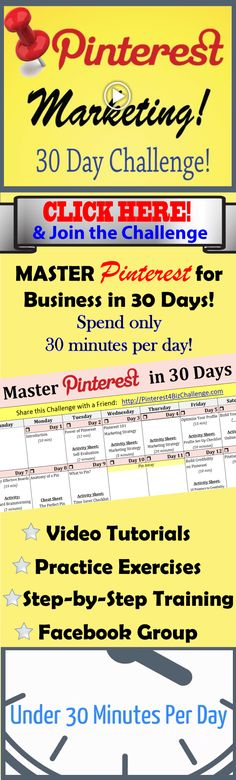Pinterest Challenge is Closed!  BUT you can still get free training by visiting http://profitpinning.com If you want to learn how to grow your business on Pinterest and have LIMITED time! Sign up for this 30-Day Pinterest for Business Marketing Challenge!  You will become a master by only spending 30 minutes per day!  http://pinterestforbusiness.bluewavelife.com