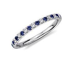 Diamond & Sapphire Wedding Band Ring in Platinum