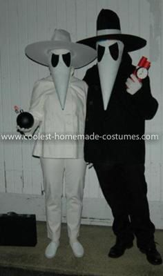 Homemade Spy vs. Spy Costume: He and I both subscribed to MAD Magazine as children so when he suggested SPY VS. SPY  for our costume this year I said YES! without hesitation. It's funny