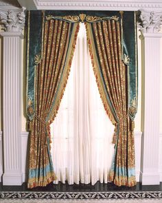 Durring the Renaissance period, tassles and gold fabrics were broadly used especially in bedrooms with a blue/ turquoise color. when drapes are closed there will usually be a pattern on them if they are not just one solid color.