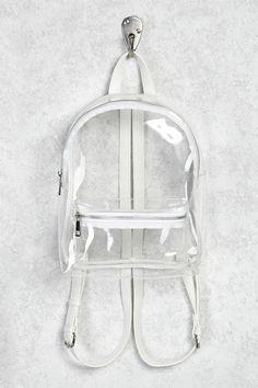 Where To Buy Clear Backpacks? Clear Backpacks, Cute Mini Backpacks, Stylish Backpacks, Tumblr Backpack, Fashion Bags, Fashion Backpack, Mini Backpack Purse, White Backpack, Forever 21
