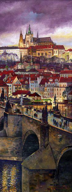 Prague Charles Bridge With The Prague Castle Painting by Yuriy  Shevchuk