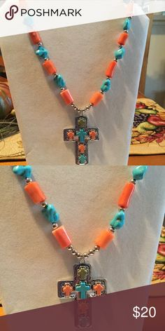 """Beautiful large cross necklace handcrafted by me Coral and faux turquoise beads approx 18"""" long Jewelry Necklaces"""