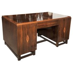 1930s French Art Deco Macassar Desk with intricate inlaid details