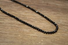 Black Spinel Necklace, Black Spinel Jewelry, Sterling Silver, Layering, Beaded, Layering Necklace, 4mm, Womens, Mens, UNISEX Valentines Day Gifts For Him, Black Spinel, Simple Necklace, Gifts For Wife, Round Beads, Black Diamond, Sterling Silver Jewelry, Layering, Jewelry Accessories