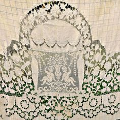 1920s Lace Cerubs Fillet Insert Embroidery by SilverFoxAntiques