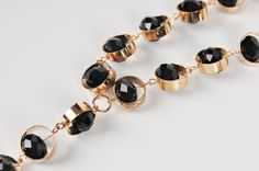 ADELAQUEEN New Fashion Gold Necklace with Black Synthetic Crystal Jewelry