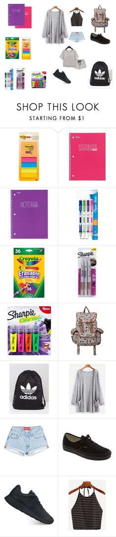 """BACK TO SCHOOL"" by mrtnz-berenice ❤ liked on Polyvore featuring Mead, Paper Mate, Sharpie, adidas, Vans, NIKE, school, Trendy and nike"