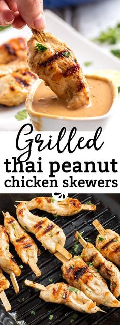 Are you looking for an easy grilled chicken recipe? These grilled chicken skewers with Thai peanut sauce are an incredible satay-inspired idea! Serve them as part of a BBQ potluck or summer picnic. They work as a simple dinner too. The sauce is no-cook a Asian Recipes, Healthy Recipes, Thai Food Recipes Easy, Peanut Sauce Recipes, Salmon Recipes, Easy Grill Recipes, Kid Recipes Dinner, Delicious Recipes, Healthy Summer Dinner Recipes