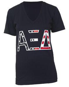 Alpha Xi Delta American Dream V-neck by Adam Block Design   Custom Greek Apparel & Sorority Clothes   www.adamblockdesign.com   orders@adamblockdesign.com