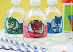 PJ Masks birthday party drink wrappers   PJ Masks Water bottle labels