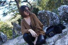 Lace Top, Knit, Leather Jeans, Parfois, Black Bag, Outfit, Look, Street Style, Fashion, Fashion Blog