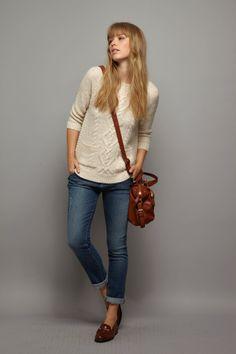 cream top, jeans.