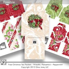 Free Christmas Printables, Free Tea Packet, Christmas Tea Bag Wrappers,  Free Graphics, Free Kits, Free Digital Clip Art, Graphics and Backgrounds for Scrapbooking, Gina Jane Designs - DAISIE Company