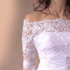 Bridal lace  bolero  Off-Shoulder / French Lace /wedding jacket/  shrug/ lace top by Uptodate Fashion Studio, $103.99 USD
