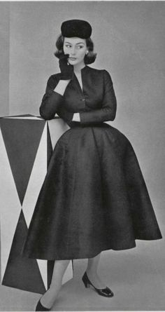 "...Christian Dior, 1952...still some of the ""New Look"" there... More"