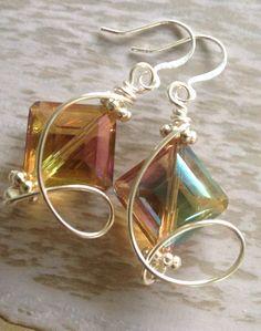 Wire wrapped crystal earrings by MermaidsDesignStudio on Etsy