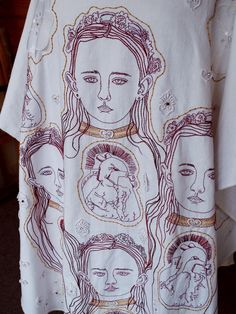 Alexandra Drenth - Textile artist in Amsterdam -Netherlands. Front of a robe, hand embroidery with applications, 2013.