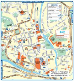 Map of Bath created in 2011 for Thomson Directories. One of approximately 350 UK town and city maps produced royalty free. Find out more...  http://www.pcgraphics.uk.com   or read our blog...    http://www.pcgraphics.uk.com/blog/