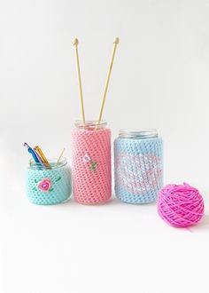 Little Things Blogged: Crochet Floral Cozies (wish there was a tutorial because this is such a fabulous idea!)