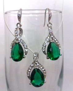 Emerald Green Bridal Necklace And Earrings Oval Teardrop Wedding Party Bridesmaids Mother Of Bride Groom