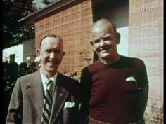 Stan Laurel and Oliver Hardy in 1956,after Stan had suffered his stroke and Oliver had lost a lot of weight .